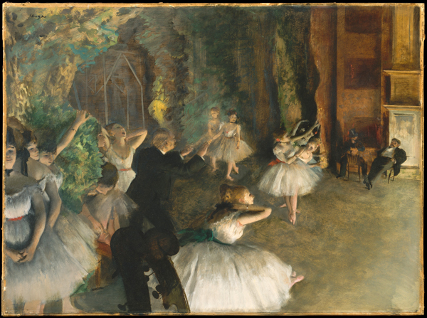 The Rehearsal of the Ballet Onstage by Edgar Degas. Dimensions: 21 3/8 x 28 3/4 in. Collection of the Metropolitan Museum of Art, NYC.
