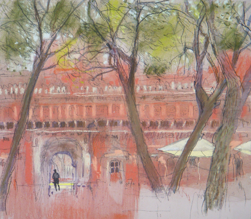 Courtyard Gajner (pastel) by Felicity House