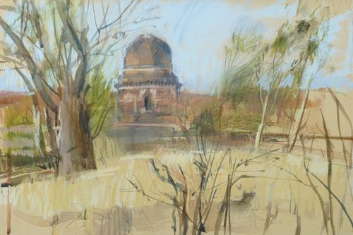 Mandu Temple (pastel) by Felicity House