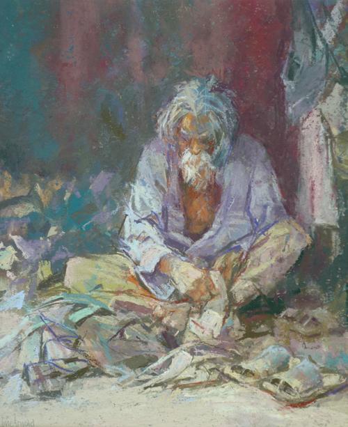 Shoemaker in Orissa (pastel) by June Arnold