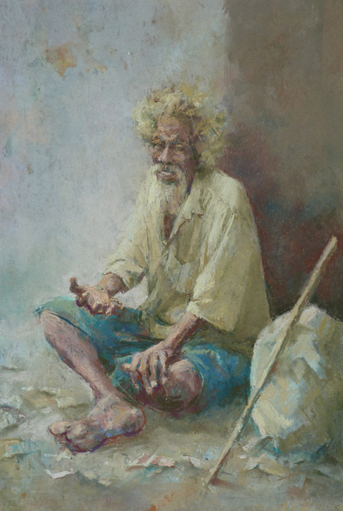 The Mendicant Kolkata (pastel) by June Arnold