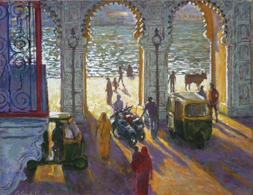 Triple Arch Evening Light Udaipur (pastel) by Patrick Cullen