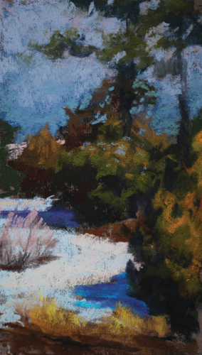 Castlewood Canyon (pastel, 9x6) by Diane Rappisi | landscape painting