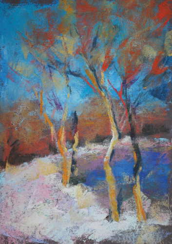 Spring Snow (pastel, 9x7) by Diane Rappisi | landscape painting