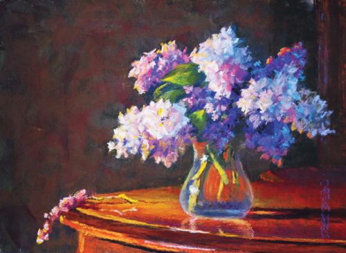 Lilacs (pastel, 14x18) by Diane Rappisi | still life paintings