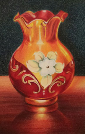 Vase in colored pencil