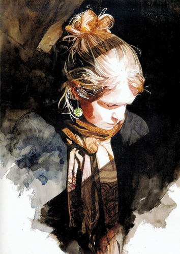 Claire (watercolor on paper, 18x15) by Keinyo White | watercolor portraits