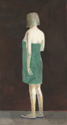 Green Towel (watercolor on paper) by Charles Williams