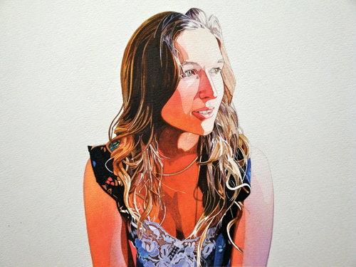 Hannah (watercolor and gouache on paper, 15x18) by Keinyo White | watercolor portraits