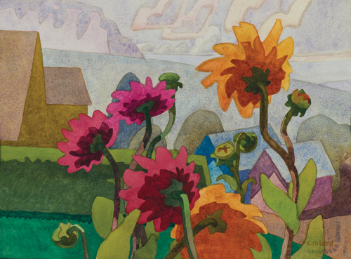 High Desert Dahlias (watercolor on paper) by Carolyn Lord
