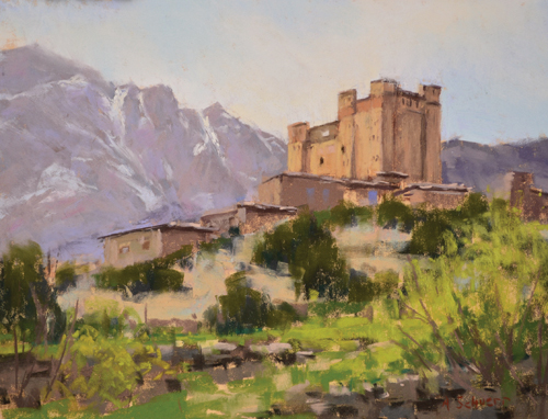 Mountain Fortress (pastel) by Aaron Schuerr