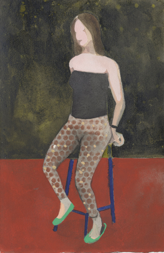 Sporty Jeggings (watercolor on paper) by Charles Williams