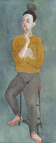 Thinking (watercolor on paper) by Charles Williams