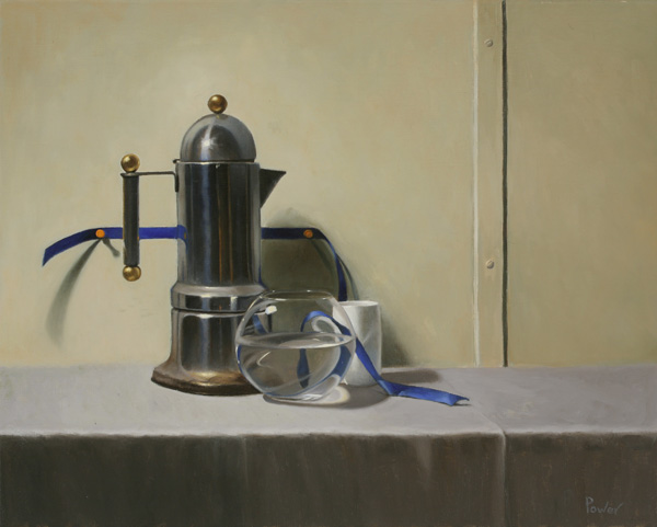 Coffee Pot with Ribbon (oil on linen, 16x20)