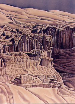 Sculpted Dune (colored pencil art) by Kristy Kutch