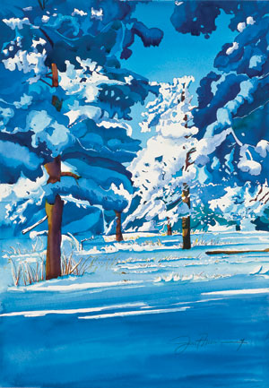 How to paint snow, landscape painting by Janet Nunn