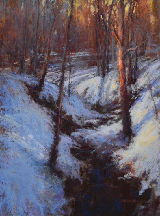 Winter's Glow (pastel, 12x16) by Nancy Nowak