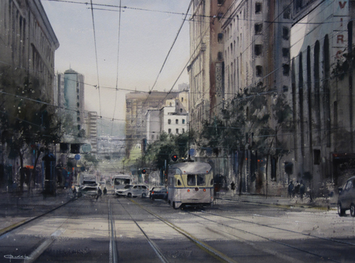 Market Street VII (watercolor on paper) by Pablo Ruben Lopez Sanz