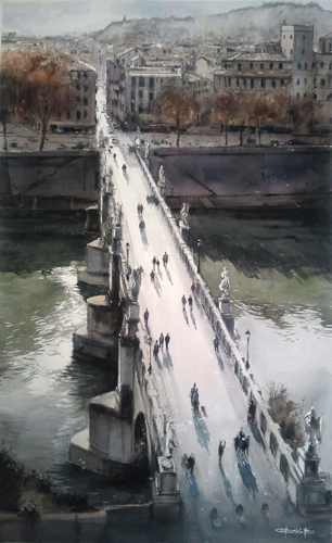 San Angelo Bridge (watercolor on paper) by Pablo Ruben Lopez Sanz