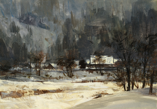Snow Scene in Shirakawa (watercolor and gouache on illustration paper, 7x10¼) by Chien Chung-Wei |watercolor painting