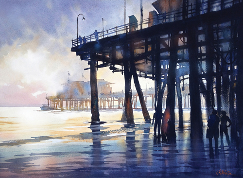 Santa Monica Pier (watercolor on paper, 22x30) by Thomas W. Schaller | watercolor painting