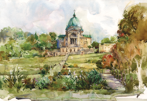 St. Joseph's Oratory, Montreal (pen, ink and watercolor, 15x22) by Marc Taro Holmes
