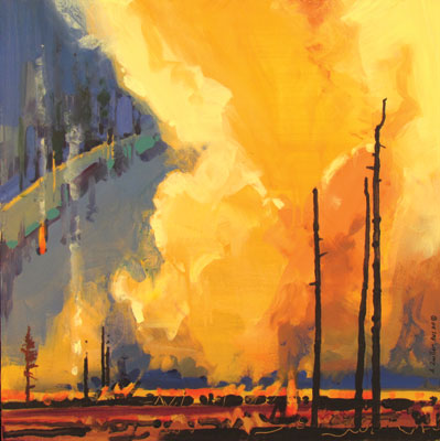 Acrylic landscape painting by Stephen Quiller; tax advice for artists at ArtistsNetwork.com