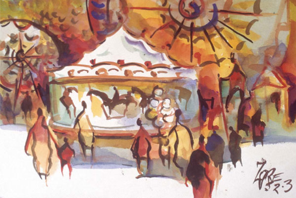 LA County Fair (watercolor) by Milford Zornes, featured at ArtistsNetwork.com