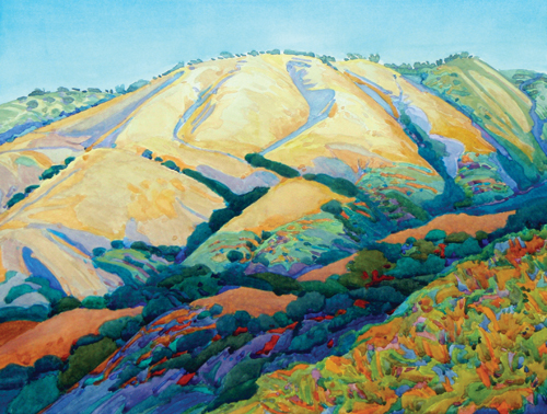 Summer Hill, Upper Carmel Valley (watercolor on paper) by Robin Purcell