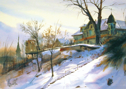 House On the Hill (watercolor on paper) by Andy Evansen | plein air painting