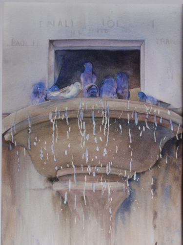 Spileto Fountain (watercolor on paper) by Kathie George | plein air painting