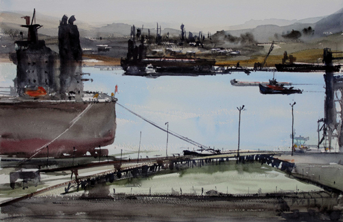 Carquinez Vista (watercolor on paper) by David Savellano | plein air painting