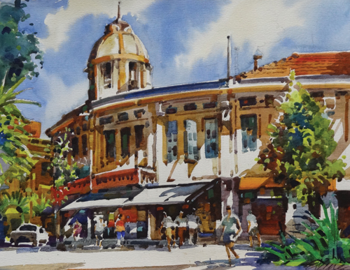 Selegie Road (watercolor on paper) by Ong Kim Seng | plein air painting