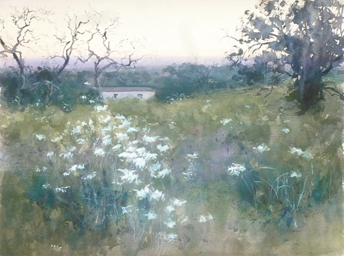 Nightfall in TX (watercolor on paper) by Frank Eber | plein air painting