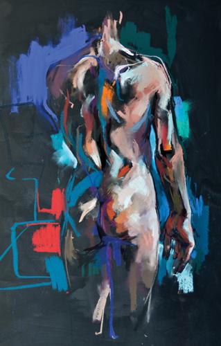 Standing Man (pastel, 37x22) by Crawfurd Adamson