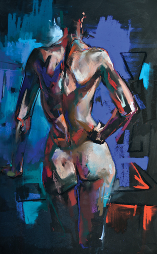 Standing Woman, Hand on Hip (pastel, 37x22) by Crawfurd Adamson