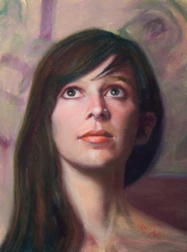 Heidi Study (pastel, 12x9) by John Philbin Dolan   portrait