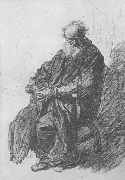 Old Man Seated in an Armchair, Full Length by Rembrandt, ca. 1631, red and black chalk, 9 x 6¼.