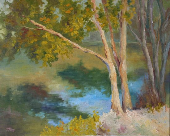 Jennifer King's plein air painting, River Reflections.