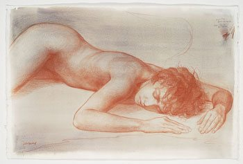 Study for Fallen Angel by Patricia Watwood, 2012, red and white chalk drawing on watercolor-toned paper, 15 x 22.