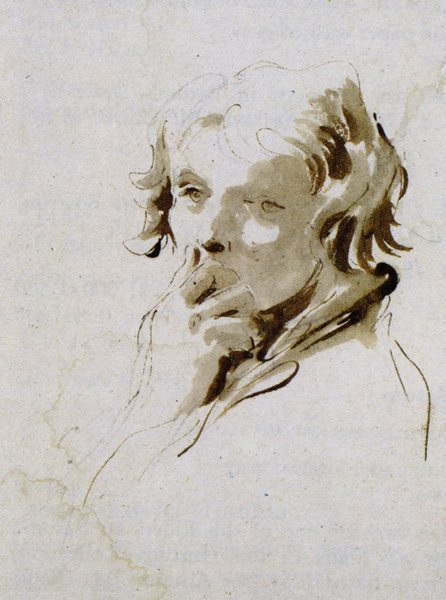 Study of a Boy With His Hand to His Mouth by Giovanni Battista Tiepolo, pen and brown ink over black chalk, 9 5/8 x 7¾.