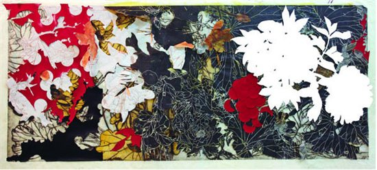 Year of the Dog #8 by Judy Pfaff, woodblock print with collage and hand coloring.