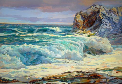 Surf at Prout Neck by Guy Corriero, watercolor and casein painting, 2011.
