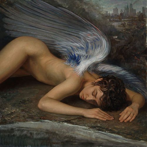 Fallen Angel by Patricia Watwood, 2012, oil painting on linen, 30 x 30.