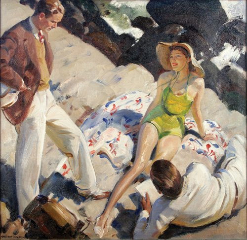 """Illustration for """"Hail and Farewell"""" for The American Magazine by Pruett A. Carter, 1938, oil painting. Image courtesy Museum of American Illustration at the Society of Illustrators, NY."""