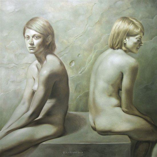 "Emma Twice, 2009, oil on canvas, 48""x48"" by Daniel Maidman."