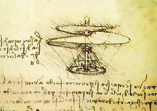 Leonardo da Vinci Aerial Screw Helicopter drawing.