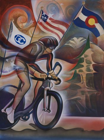 My winning painting for the USA Pro Cycling Challenge Poster Contest for Beaver Creek, Co.