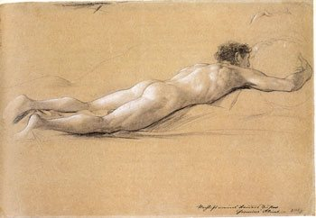 Study for Satyr Carrying Drum by Gustav Klimt, ca. 1886-1888, graphite and white chalk on brown paper, 12½ x 18.
