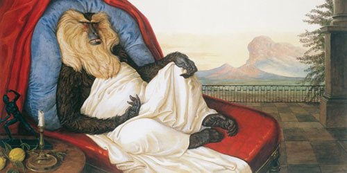 Jack on His Deathbed by Walton Ford, detail, watercolor, gouache, pencil, and ink on paper, 101.3 x 151.1 cm., 2005.